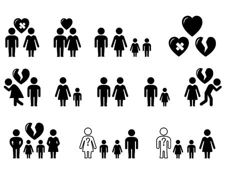 Setze Icons mit Familiensituation - Hochzeit, Scheidung, Liebe, Hass