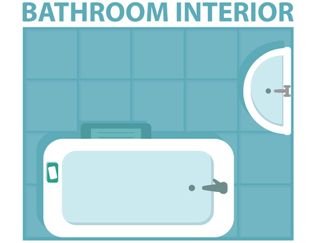 blue bathroom interior view from above. bathroom interior icon from a series of illustrations top view.