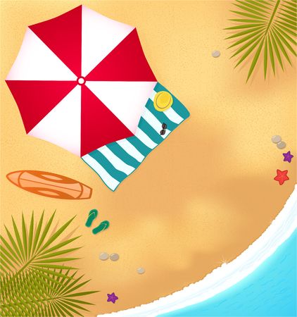 beach, sea, surfboard, umbrella and towel. illustration of beach at seaside resort. colorful background for travel and surfing