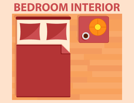 bedroom interior icon on flat design style view from above