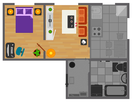 concept interior house room with lights on. house rooms view from above. big house with rooms furnishing 矢量图像
