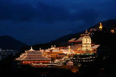 godliness: Penang Kek Lok Si Temple at night during Chinese New Year Stock Photo