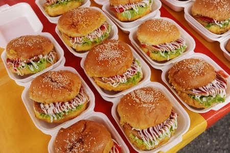 Delicious and juicy chicken burger photo