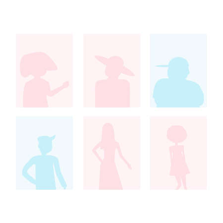 silhouettes of people, men and women