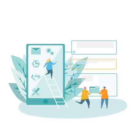 Vector illustration. Team work, delivery, calculation, work, service.
