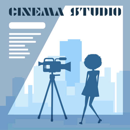 Movie studio. Actors are filmed against the backdrop of the city. Illustration with text.