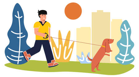 Vector illustration. Man With His Dog In The Park.