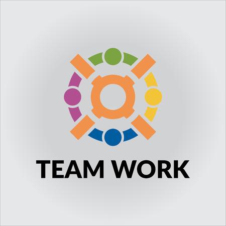 partnership security: team work logo Illustration