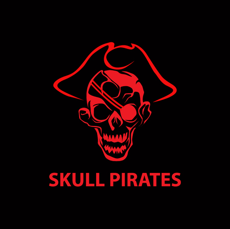 Skull pirates logo Illustration