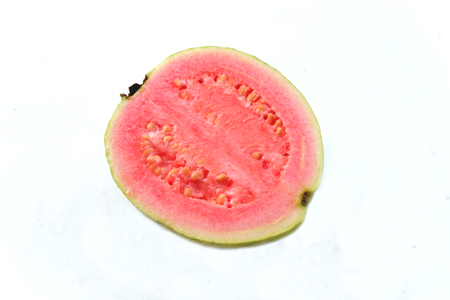 fresh red guava on white background