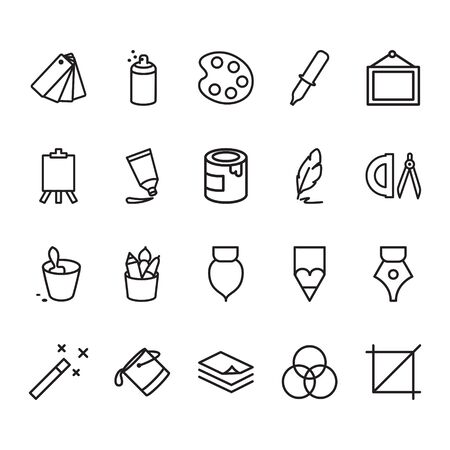 set of creativity tools related to vector color line icons. Contains icons such as pencils, paints, pallets, brushes, colors and more.