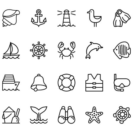 Related Cruise Line Vector Set Icon. Contains icons such as crabs, sharks, starfish, buoys and more. Ilustração