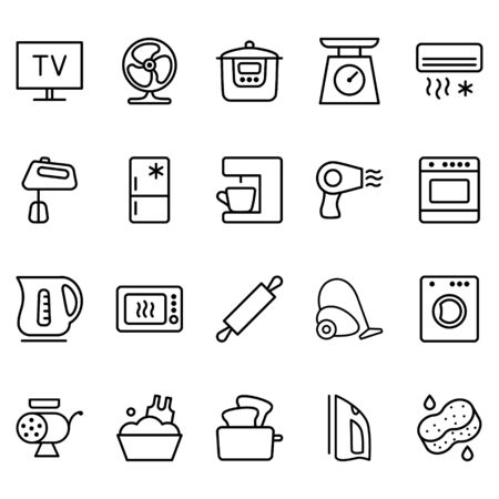 Set of vector icons related to Household appliances. Contains icons such as fans, televisions, irons, vacuum, cleaners, ovens and more.