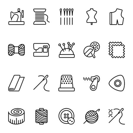 Set of sewing related vector icons. Contains icons such as Sewing Machine, Measuring Tape, Wool, needles and others.