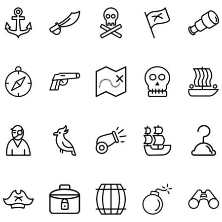 Pirate Set Related Vector Lines Icons. Contains icons like compass, bomb, map, boat, flag and more.