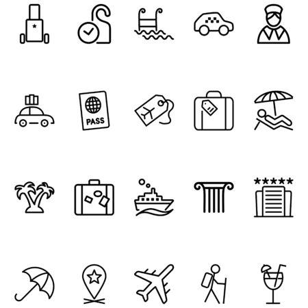 Reislijn gerelateerde vector iconen instellen. Bevat pictogrammen zoals paspoorten, taxi's, vliegtuigen, koffers en meer.