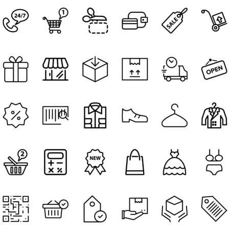 Shopping Set Related Vector Lines Icons. Contains Icons like payment, support, discounts, shipping and more.