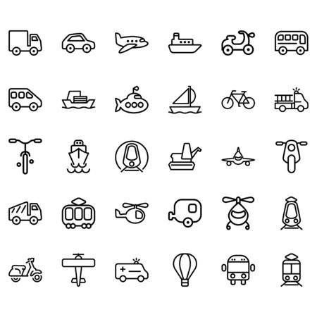 Set of Transport Related Vector Lines Icons. Contains icons such as planes, buses, ships, motorbikes and others.