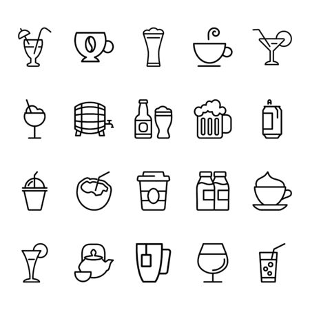 Set drink related vector line icon. Contains icons like tea, coffee, bear, cocktail and others.