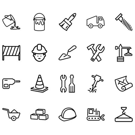 Set of construction Related Vector Lines Icons.