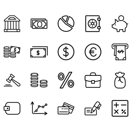 Set of Finance Related Vector Line Icons. Contains such Icons as Taxes, Money Management, Handshake and more. Illusztráció