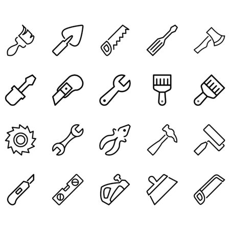 Simple Set of hand tools Icons Related Lines Icons. Contains icons such as saws, screwdrivers, hammers, cutters, brushes and more