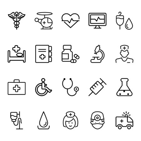 Simple Set of Medical Line Related Vector Icons. Contains icons such as nurses, ambulances, stethoscopes, medication, medicine bags and more.