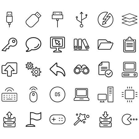 Simple Set of Computer Related Line Icons. Contains icons such as USB, computer, keys, folders and more
