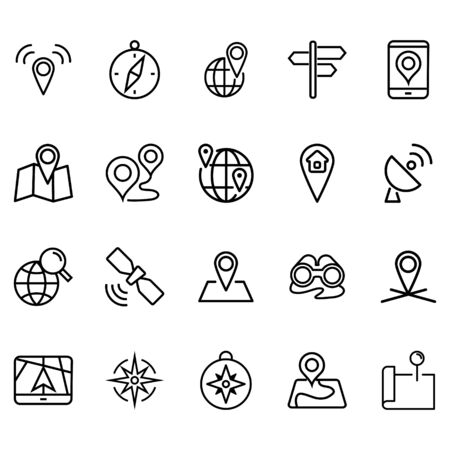 Simple set of map locations Icons Related Lines Icons. Contains icons such as compasses, map points, globe, satellites and more