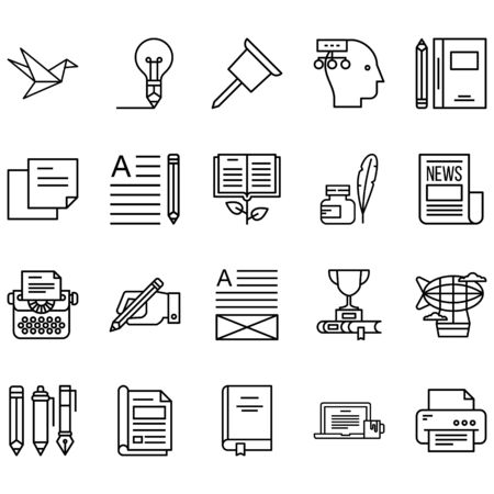 Simple set of Copywriting Related Line Icons. Contains icons such as ideas, printers, books, papers, newspapers and more Ilustração