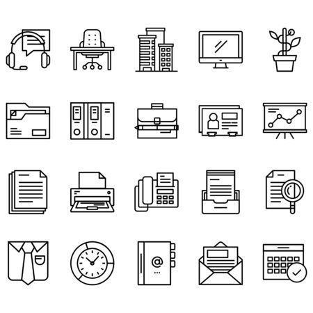 Simple set of offices Related Line Icons. Contains icons such as folders, presentations, support, contact books and more