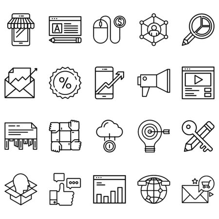 Simple set of marketing Related Line Icons. Contains icons such as speaker, target, chart, play video and more Çizim