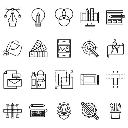 Simple set of graphic design Related Line Icons. Contains icons such as color palette, layout, pen and more