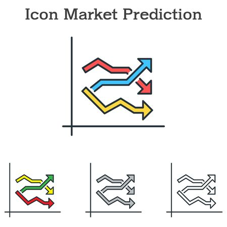 Market Prediction flat icon design for info graphics and businesses with three different styles Vector Illustration