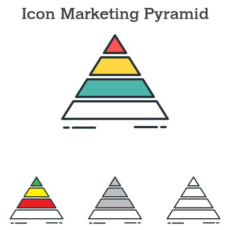 Marketing Pyramid flat icon design for info graphics and businesses with three different styles Vector Illustration Ilustracja