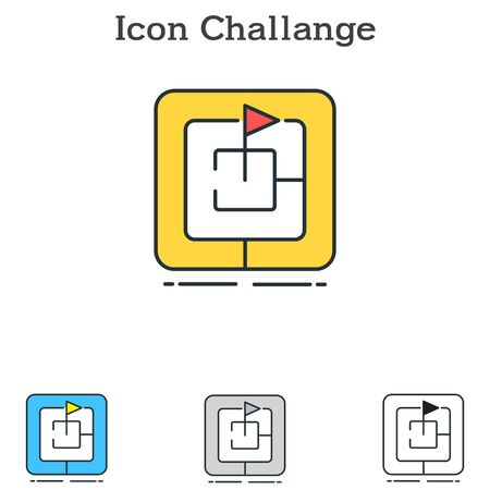 Challenge flat icon design for info graphics and businesses with three different styles Vector Illustration Illusztráció