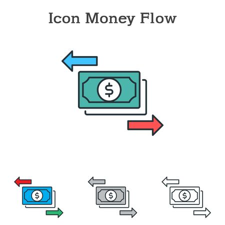 Money Flow flat icon design for info graphics and businesses with three different styles Vector Illustration