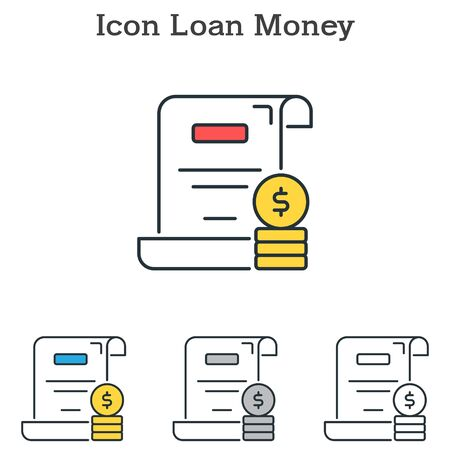 Loan Money flat icon design for infographics and businesses with three different styles Vector Illustration