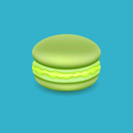 Macarons. Realistic Tasty Colourful French Macaroons. Isolated on blue background, Vector Illustration