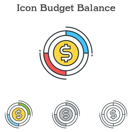 Budget Balanceflat icon design for infographics and businesses with three different styles Vector Illustration