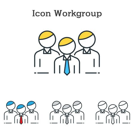 Workgroup flat icon design for infographics and businesses with three different styles Vector Illustration