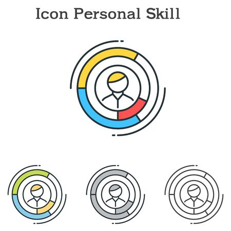Personal Skill flat icon design for infographics and businesses with three different styles Vector Illustration