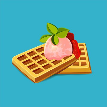 Realistic Detailed 3d Waffle Set with Fresh Berry and Green Leaves Peppermint. Vector illustration of Sweet Dessert
