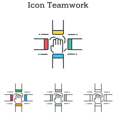 Teamwork flat icon design for info graphics and businesses with three different styles Vector Illustration Banco de Imagens - 138179691