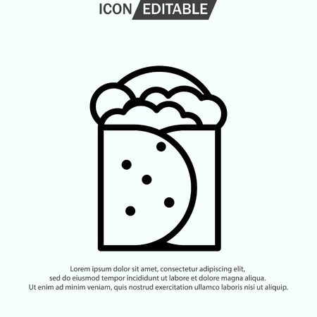 BURRITO line icon, outline vector logo illustration, linear pictogram isolated on white Vettoriali