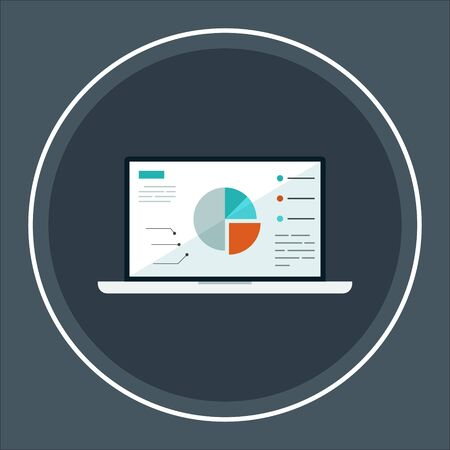 Laptop showing charts and graph, analysis business accounting, statistics concept. Digital marketing, business analysis. Data growth diagram. Business website modern ui. Presentation template. Vector