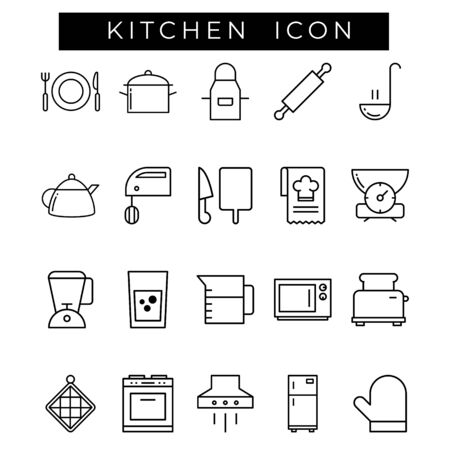 Set of Kitchen Related Line Icons. Contains such as Icons as plates, Meat Grinder, Boilers, knives and more.