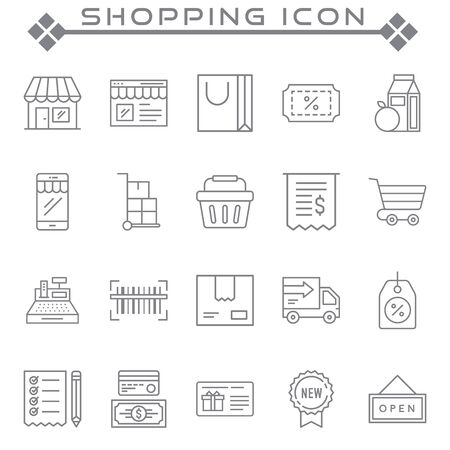 Set of Shopping Related Vector Line Icons. Contains such Icons as Mobile Shop, Payment Options, Sizing Guide, Starred, Delivery and more Illustration