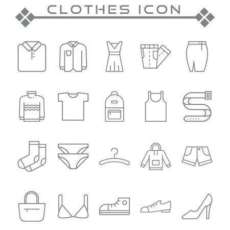 Set of clothes Related Vector Line Icons. Contains such as clothes, t-shirts, dresses, pants, socks and more. Illusztráció