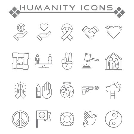 Set of Humanity Related Vector Line Icons. Contains such as Icons as peace, love, handshake, justice and more